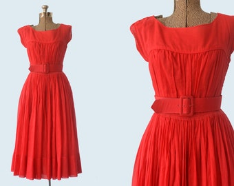 1950s Mollie Parnis Red Dress size S