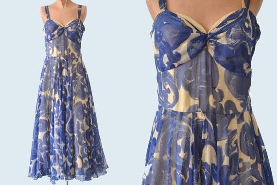 Hattie Carnegie Blue Spiral Dress size XS