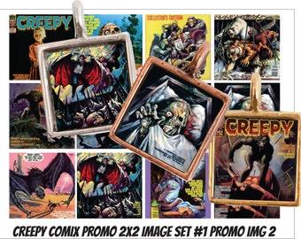 "Vintage creepy horror comic book images 1x1"" and 2x2"" Jpeg format Creep 2"