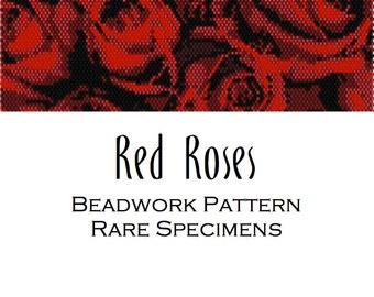 Red Roses Peyote Stitch/Brick Stitch Beadwork Pattern - Cuff Bracelet - Bookmark