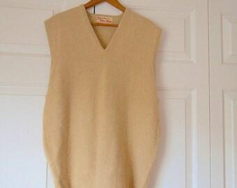 Vintage preppy camel colored Cashmere Sweater Vest