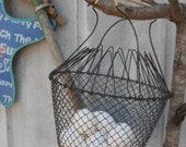 Old vintage French collapsible Wire Basket