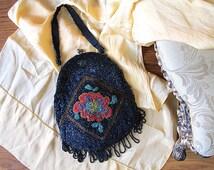 FOR BEADING Vintage 20s Purse | 1920's Glass Bead Bag | Floral Beaded Motif | Art Deco, Flapper, Antique