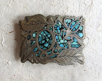 Vintage Turquoise Buckle | WIL-AREN hand made | German Silver | Western, Rockabilly, Viva, VLV, Southwestern
