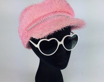 90's Pastel Baby Pink Fuzzy Motorcycle Gogo Hat
