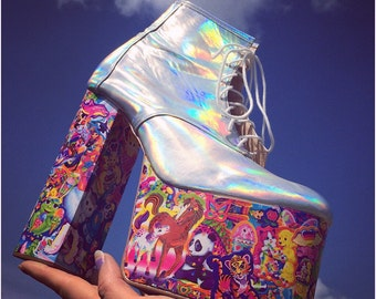 Lisa Frank Kawaii Glitter Hand Made Rainbow Platform Chunk High Heel Wedge Ankle Boots Custom made to any size