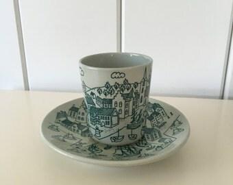 Nymolle Art Faience Hoyrup Demitasse Cup and Saucer Denmark