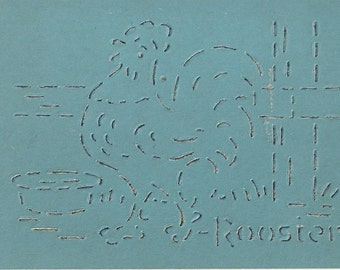 Rooster Vintage Whitman Pencil Stencil, 1950s