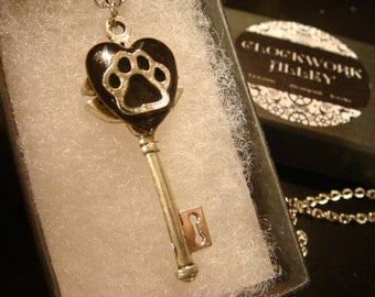 Paw Heart Key Necklace in Antique Silver-(2101)