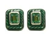 Artisian Sparkle! 2.50tcw Colombian Emerald & Enamel ,Gold Solitaire Earring .925