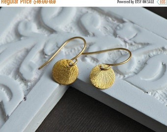 Gold Disc Earrings - Tiny Sunburst Dot Earrings,24k Gold Vermeil Everyday Jewelry, Sweet and Simple, Coin Earrings