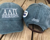 Personalized Monogrammed Baseball Cap Hat. ANY Sorority Greek Letters available. Alpha Chi Omega, Delta Zeta, Alpha Delta Pi