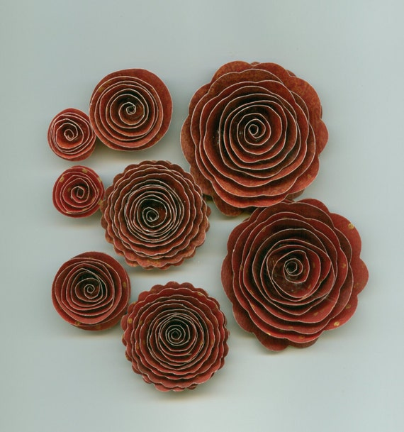 Wild Red Berry Vintage Rose Handmade Spiral Paper Flowers