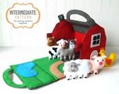 40% OFF: Barn and Farm Animals Pattern, Red Felt Barn, Felt Barnyard Animals Sewing Pattern, Hand Sewing