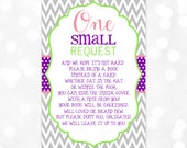 Bring A Book Card - Instead Of A Card One Small Request Chevron Purple Green Pink Bring a Book Instant Download DIY Insert PDF (Item #4)