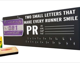 Running Medal display - running medal hanger, running medal holder, running medal display rack,Write up your own PR , gifts for runners