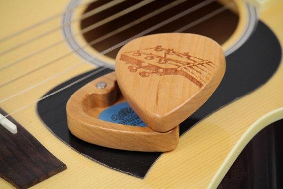 "Fret Guitar Pick Box Slender, Pattern G21, 2-1/4"" x 2"" x 3/4"" d, Solid Cherrywood, Laser Engraved, Paul Szewc"