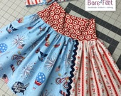 Size 4 toddler 5 girls Ready to Ship Yoga Waist Girls Jersey Top Skirt in Fourth of July Parade on Main Blue with Red Stripe Fabric