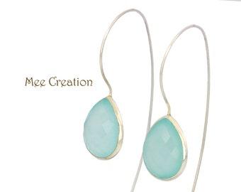 EE2190001) Aqua Chalcedony Earrings, Sky Blue Chalcedony Earrings, Blue Earrings, Blue Chalcedony Earrings, Bohemian Earrings