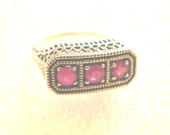 Ruby Art Deco Antique Reproduction Sterling Silver Ring size 6
