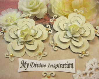 Ivory Handmade Paper Flowers, Paper Embellishments for Scrapbook Layouts Cards Mini Albums Tags Altered Art and Papercrafts