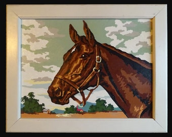Vintage Paint By Number Horse Painting Thoroughbred by Craftint 16 x 12 framed