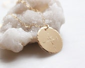 Hand stamped compass necklace, 14k gold filled, disc necklace, layering necklace, gold, dainty jewelry, delicate jewelry, dainty necklace