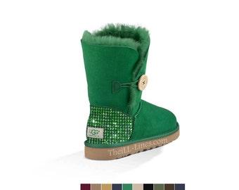 Custom Ugg Boots, Green Ugg Boots, Bailey Short Uggs,Crystal Uggs, Uggs with Crystals, Swarovski Uggs, Strauss Uggs, Gray Uggs, Uggs