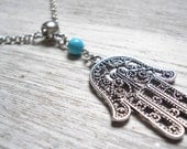 hamsa necklace boho necklace pendant necklace turquoise necklace boho jewelry bohemian necklace turquoise jewelry gypsy necklace bohemian  M