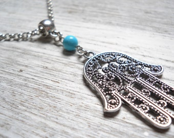 hamsa necklace boho necklace pendant necklace turquoise necklace boho jewelry bohemian necklace turquoise jewelry gypsy necklace bohemian