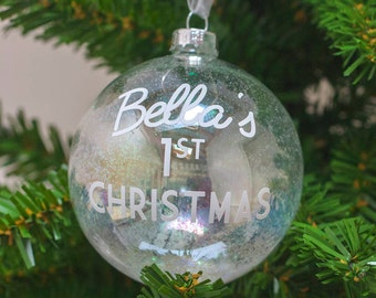Personalised Baby's First Christmas Bauble | Handmade | Christmas Gift | Glitter Bauble | Baby Gift