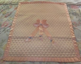 Absolutely Charming Vintage Nursery Pink Blue Rosettes Satin Baby Blanket Quilt