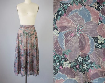 "1970s Vintage Floral Sheer Midi Skirt (S,M; 27 3/4"" Waist)"