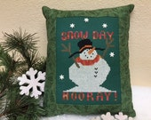 Snowman-Snow Day-Finished Cross Stitch-Home Decor-CrossStitch-Pillow