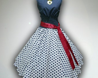 Winsome Blue & White Polka Dot 50s Pin up Rockabilly Swing Dress Full Swing Skirt size L