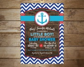 Nautical Baby Shower Invitation, Ahoy it's a boy invite, anchor invitation, rustic nautical, boy baby shower, printable invite, diy invite