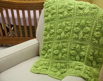 CROCHET PATTERN - NEW Embossed Crochet Technique - Embossed Garden Baby Blanket