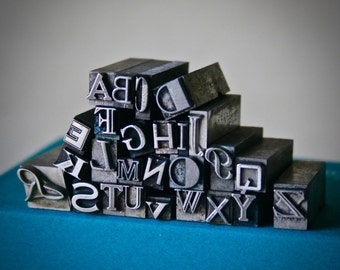 Letterpress Type Choose Your Letter or Number & Choose Your Style in Assorted Font Unisex Pendant Wearable History