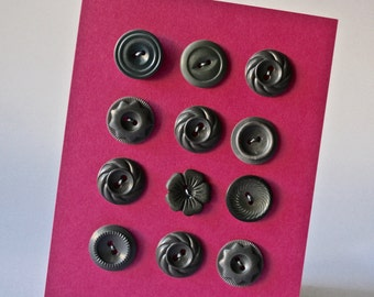 Grey Vintage Buttons in Assorted Designs for Sewing and Crafting