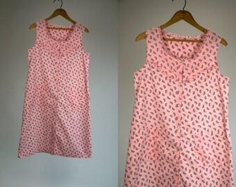 Vintage Vtg 1980's Watermelon Print Nighty Snap Buttons and Ruffles Feminine Summer Melon Cotton Women's Medium