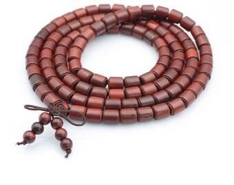 Tibetan Buddhist 108 8mm x 7mm Rosewood Prayer Beads Meditation Yoga Mala Necklace  B-SZ-002
