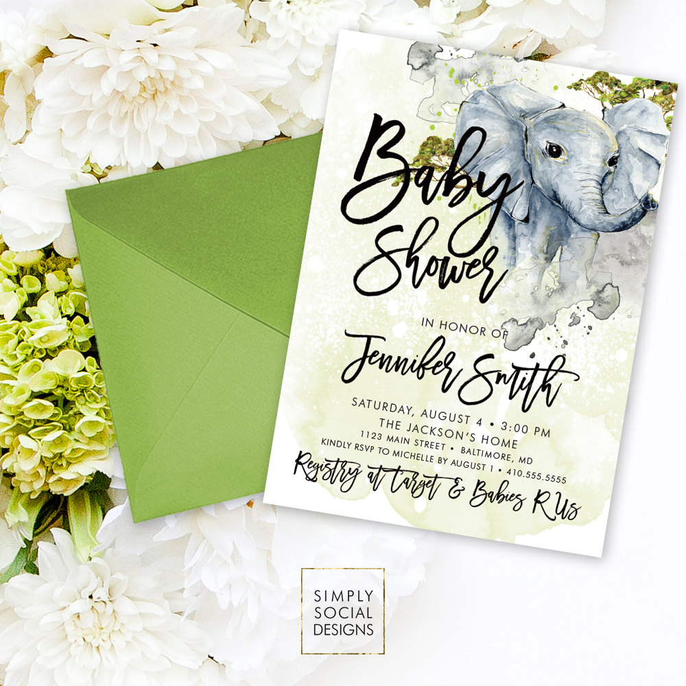 Elephant Baby Shower Invitation - Boho Elephant Gender Neutral ...