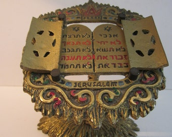 Enameled Brass 10 Commandments - Wainberg Israel Modernist Judaica - Tilted Stand with Book - Covers Open and Close to Reveal Hebrew Tablets