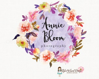 flower wreath logo florist logo floral logo flower shop logo event planner logo photography logo wedding logo design monogram logo watermark