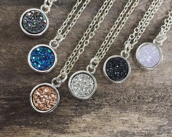 Druzy Necklace, Druzy Quartz Jewelry, Sterling Silver Necklace, Drusy Necklace, Gemstone Necklace, Druzy Charm