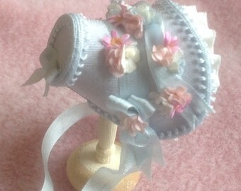 Handmade 1/12th scale dollhouse miniature beautiful blue silk bonnet
