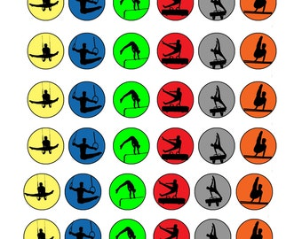 Men's Gymnastics Silhouette Set- Purple Ombre Silhouette Sheet-1 Inch Circles for Round Bottle Caps, Magnets, Hair Bow Centers, Stickers