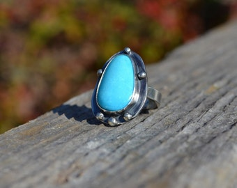 Sterling Silver and Nacozari Turquoise Ring in Size 8