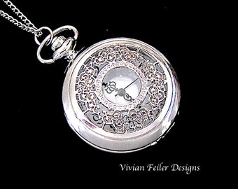 Pocket Watch Necklace SILVER VICTORIAN Style Lace Filigree Christmas Gifr Graduation Birthday