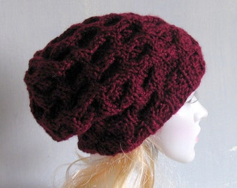 Mens Slouchy Beanie Hand Knit Hat for Men Unisex Gray Mens Slouchy Beanie Winter Women  hat anthracite hat fur faux pom pom hat